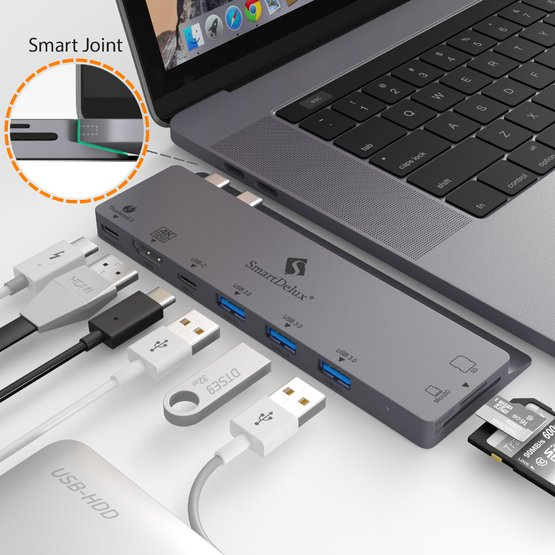 USB C Hub Adapter - 8-in-1 for Macbook Pro 2016/2017 13