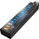 13-port Aluminum USB Hub (Black) (10 ports USB 3.0 + 3 SMART CHARGING ports)