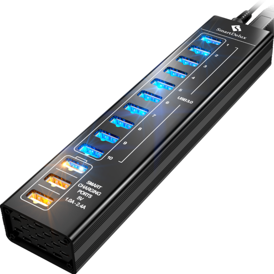 13-port Aluminum USB Hub (Black) (10 ports USB 3.0 + 3 SMART CHARGING ports) — SDU3-P10C3